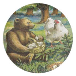 Vintage, oso de Brown y gallina Plato De Cena