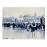 Vintage Ostend Bathing Scene, casino in the back Postcard