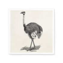 Vintage Ostrich Bird Antique Birds Template Napkin