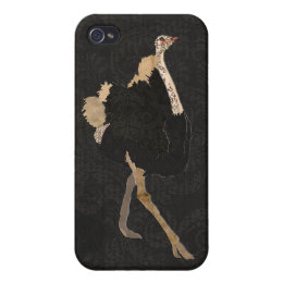 Vintage Ostrich Black iPhone Case