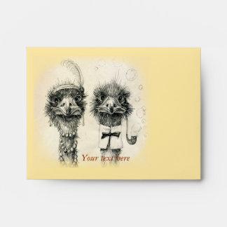 Vintage ostrich couple envelope