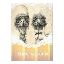 Vintage ostrich couple - pale orange invitation