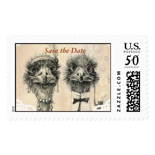 Vintage ostrich couple postage