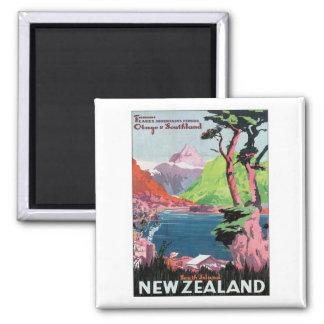 Vintage Otago Nueva Zelanda Imán Cuadrado