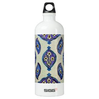 Vintage Ottoman Tile FLORAL Abstract  DESIGN Water Bottle