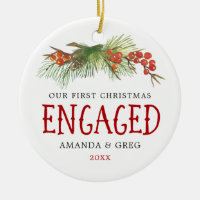 Vintage Our First Christmas Engaged Couple Photo Ceramic Ornament