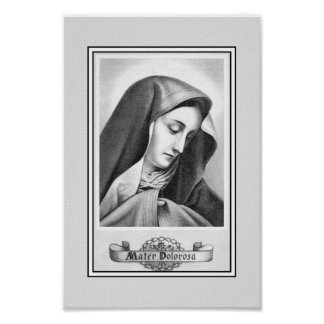 Vintage Our Lady of Sorrows catholic devotional Poster