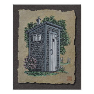 Vintage Outhouse Poster