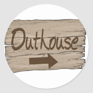vintage outhouse right classic round sticker