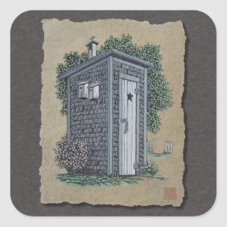 Vintage Outhouse Square Sticker