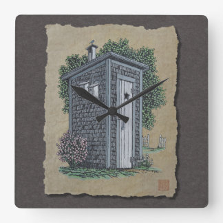 Vintage Outhouse Square Wall Clock