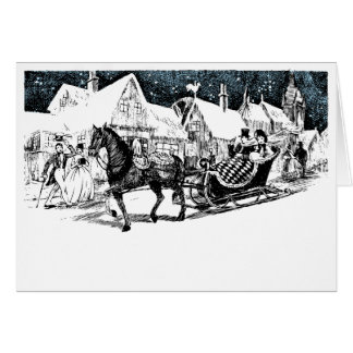 Vintage Outing in a One Horse Open Sleigh Card