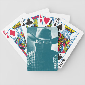 Vintage Outlaw Cowboy Revolver Playing Card Teal Bicycle Poker Deck