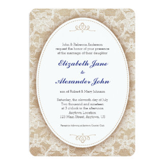 Vintage Oval on Burlap and Lace Wedding 5x7 Paper Invitation Card