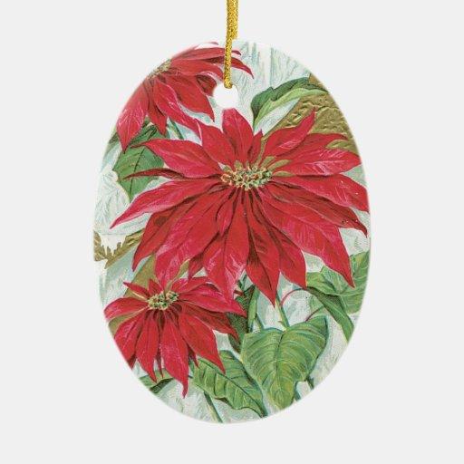 Vintage Oval Poinsettia Christmas Tree Ornaments