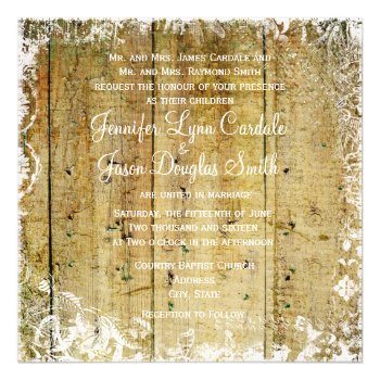 Vintage Overlay Distressed Wood Wedding Invitation