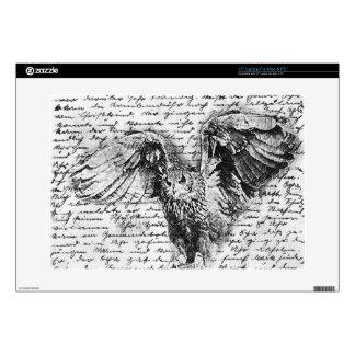 "Vintage owl 15"" laptop skin"