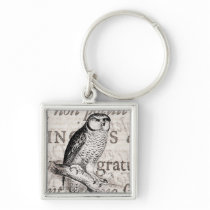 Vintage Owl and Antique Text Collage - Customized Keychain