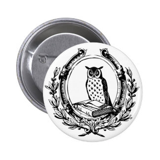 Vintage Owl and Book Bookplate 2 Inch Round Button
