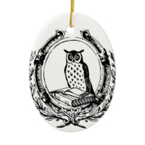 Vintage Owl and Book Bookplate Ceramic Ornament