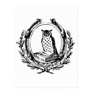 Vintage Owl and Book Bookplate Postcard