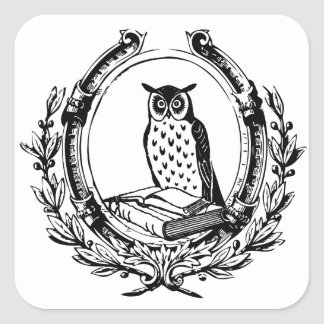 Vintage Owl and Book Bookplate Square Sticker
