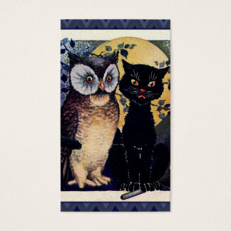 Vintage Owl and Cat Halloween Greeting Business Card