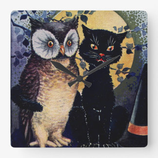 Vintage Owl and Cat Halloween Greeting Square Wallclock