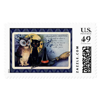 Vintage Owl and Cat Halloween Greeting Postage