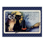 Vintage Owl and Cat Halloween Greeting Postcard