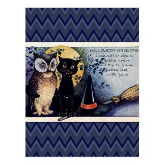 Vintage Owl and Cat Halloween Greeting Postcard
