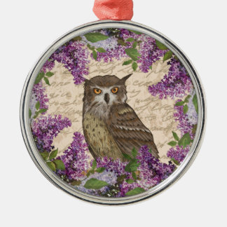 Vintage owl and lilac metal ornament