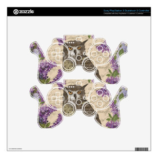 Vintage owl and lilac PS3 controller decal