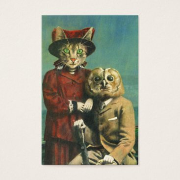 Professional Business Vintage Owl And Pussy Cat ACEO Business Card