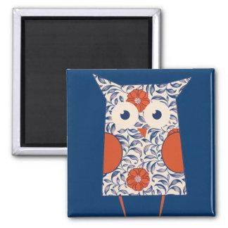 Vintage Owl Art 2 Inch Square Magnet