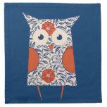 Vintage Owl Art Cloth Napkins