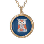 Vintage Owl Art Gold Plated Necklace
