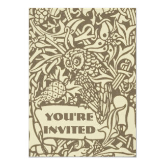 Vintage owl Art Nouveau bird Design 4.5x6.25 Paper Invitation Card