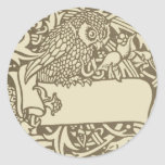 Vintage owl Art Nouveau bird Design Round Stickers