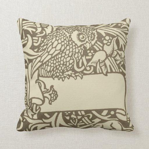 Throw Pillows Bird Design : Vintage owl Art Nouveau bird Design Throw Pillow Zazzle