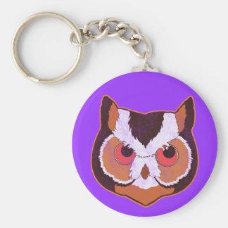Vintage Owl Basic Round Button Keychain