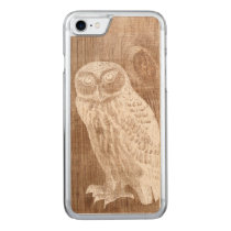 Vintage Owl Bird Botanical Wood Carved iPhone 7 Case
