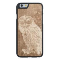 Vintage Owl Bird Botanical Wood Carved Maple iPhone 6 Slim Case
