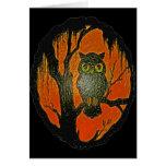 Vintage Owl cartoon Art Greeting Cards