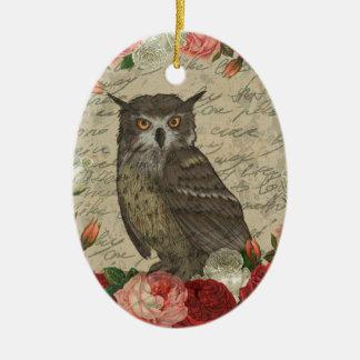 Vintage owl ceramic ornament