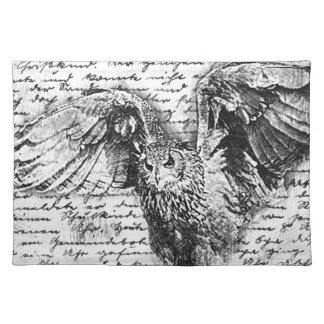 Vintage owl cloth placemat