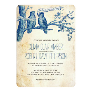 Vintage Owl Couple in Tree Wedding Invites