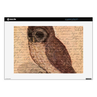 """Vintage owl decal for 15"""" laptop"""