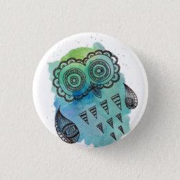Vintage Owl Doodle Button By Megaflora