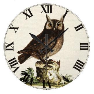Vintage Owl Drawing Large Clock